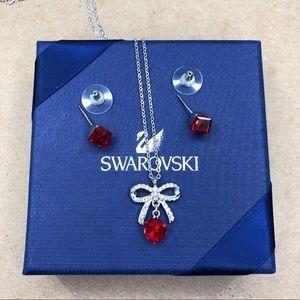 Swarovski Crystal Bow With Red Stone Set